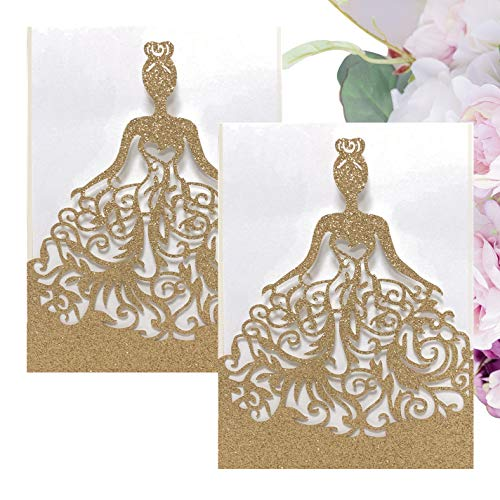 Gold Fortune 20 Packs Laser Cut Sparkly Quinceanera Wedding Invitations with RSVP Cards Kit and Envelopes for Baby Shower Party Favors Girl (Glitter ()