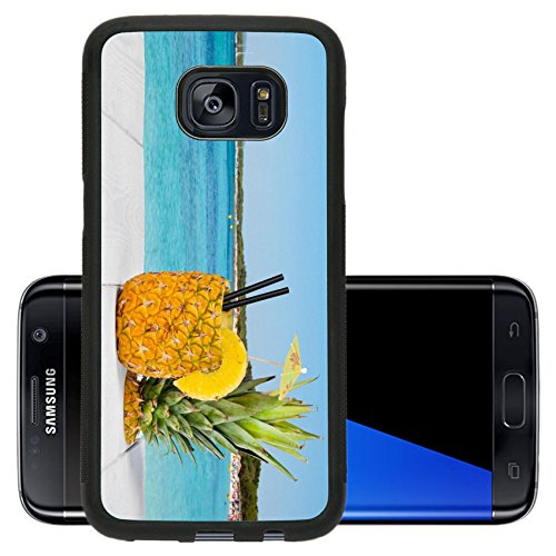 Luxlady Premium Samsung Galaxy S7 Edge Aluminum Backplate Bumper Snap Case Image Id  41066810 Pineapple Juice Served In The Peel On White Wood Table