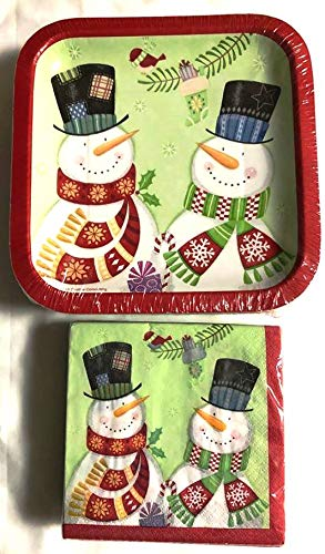 Merry Christmas Winter Snowman Dinnerware Kit Bundle 50 Disposable Paper Square DESSERT or APPETIZER Plates and Dessert or Appetizer Napkins 50 of Each
