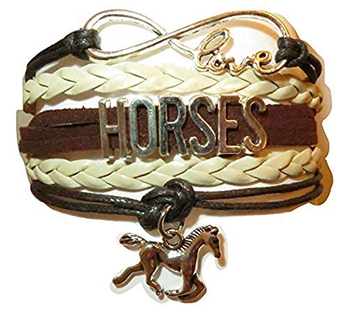 Horse Bracelet Gift for Girls, Horse Jewelry, Infinity Bracelet Horse Charm, Girls Gifts,Teen Gifts for pony loving girls, Birthday gifts for girls, horse gifts (Dark Brown & Pearl White)