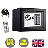 Small Safe Box 4.6L Security Safety Steel Safe with Spare Keys Electronic Keypad for Home Store Office to Wall Floor Shelf (Black)