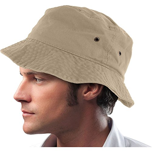 Mens 100% Cotton Fishing Hunting Summer Bucket Cap Hat (L/XL, Khaki)