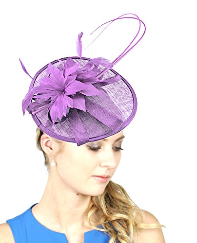 NYFASHION101 Elegant Feather Floral Accent Sinamay Fascinator Headband, Lilac - Lilac Accent