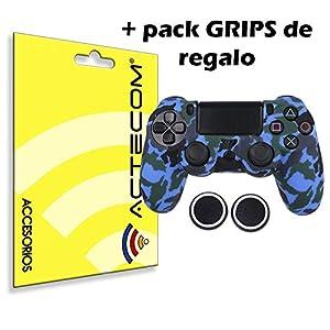actecom® Funda Carcasa + Grip Silicona Camuflaje Azul Mando Sony PS4 Playstation 4 51n 2B niadFL