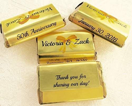 180 GOLD FOIL 50th, 60th, 70th etc... WEDDING ANNIVERSARY Candy wrappers/stickers/labels for your HERSHEY MINIATURES Chocolates (Personalized Favors) for any Party or Event! by Party Favors Galore