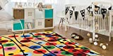 Polka Dot Floral Balloons Colorful Area Rug 5' x 6'6