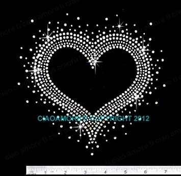 HEART HEAT FIX TRANSFER I LOVE MY PET ~ RHINESTONE IRON ON APPLIQUE