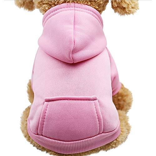(Pet Fleece Dog Hoodies, Basic Hoodie Sweater Cotton Jacket Sweatshirt Coat with Pocket for Small Medium Dog Cat (Pink, XS))