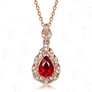 1ct Natural Pear Shaped Cut Red Ruby Diamond 14k Rose Gold Pendant 925 Sterling Silver Necklace Antique
