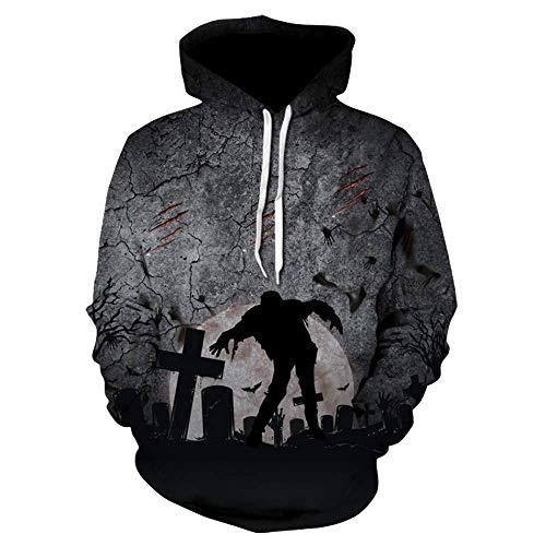 Bon Soir Men Women's Hoodie Halloween Long Sleeve Sweatshirt 3D Print Cool Hooded ()