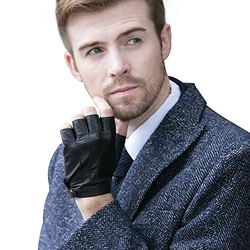 YISEVEN Men's Fingerless Lambskin Leather Gloves Unlined Three Points 1/2 Half Finger Button Punk Real Natural Luxury for Hand Warm Winter Motorcycle Driving Cool Gifts, Bright Black 9.5