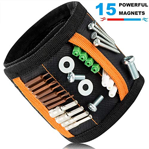 Magnetic Wristband with pockets,Tool Belt with 15 Strong Magnets for Holding Screws,Nails,Drill,Bits,Fasteners,Scissors,Unique Gift for Men,Women,Carpenters,Father/Dad,DIY Handyman,Husband,Boyfriend