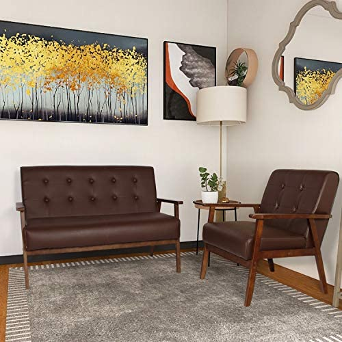 Mid-Century Modern Faux Leather Solid Arm Loveseats Sofa Retro Armrest Loveseat Couch Upholstered Wooden 2-Seat Lounge Chair for Living Room Furniture 2, Brown