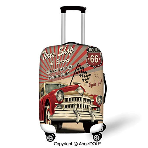 AngelDOU Durable Elastic Suitcase Luggage Protective Cover Cars Tires Shop and Service Route 66 Emblem Advertisement Retro Style Poster Print Red Grey Sepia Trolley Dust Rain Bags Accessories.