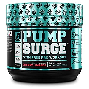 PUMPSURGE-Caffeine-Free-Pump-Nootropic-Pre-Workout-Supplement-Non-Stimulant-Preworkout-Powder-Nitric-Oxide-Booster20-Servings-Cherry-Limeade-92-OZ