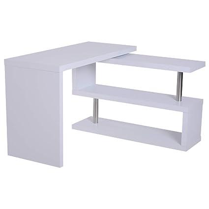Eckschreibtisch weiß matt  HOMCOM Computertisch Eckschreibtisch Winkelschreibtisch Schreibtisch  Bürotisch PC Tisch Matt Weiß