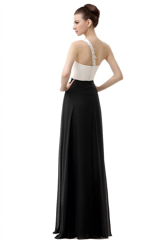 Engerla Women's Lace Applique One-shoulder Empire Long Evening Dress
