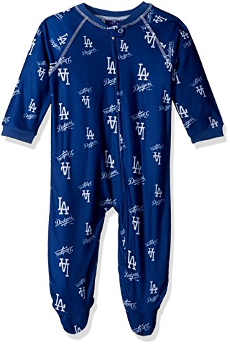 MLB Infant Dodgers Sleepwear All Over Print Zip Up Coverall, 18 Months, Deep Royal