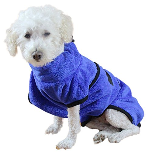 Fosinz Soft Super Absorbent Quick Drying Dog Microfiber Towel Dog Bath Robe Easy Wear Coat (M:(Chest:23.6