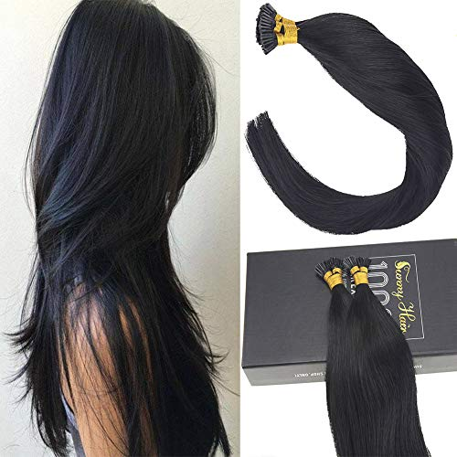 Sunny 22Inch Jet Black #1 Remy I Tip Stick Human Hair Extensions 50 Strands Fusion Hair Extensions with Salon Style
