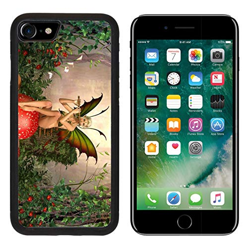 - Luxlady Apple iPhone 8 Case Aluminum Backplate Bumper Snap iPhone8 Cases ID: 39833396 Elven Beautiful Woman in Fairytale Forest Sits on a Mushroom and Plays on flut