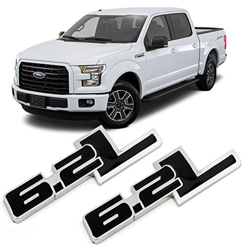(Xotic Tech 2X Black 6.2L Side Door/Fender Chrome Alloy Metal Badge Emblems For Ford F-150 F-250 F-350 F-450 Raptor Trucks)