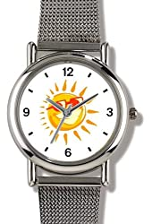 Happy Sun with Sunglasses 2 - WATCHBUDDY® ELITE Chrome-Plated Metal Alloy Watch with Metal Mesh Strap - Small ( Children's Size - Boy's Size & Girl's Size )