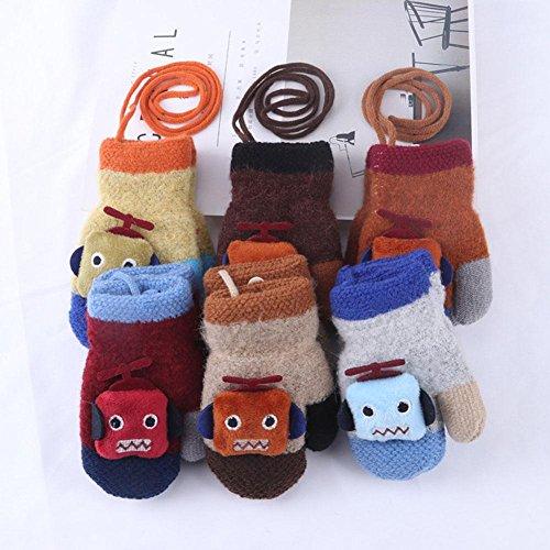 1/2 pares de guantes cálidos de invierno para niños, guantes de niños grueso cálido y estudiantes de guantes de robot caliente dedo completo
