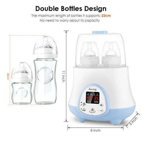 Baby Bottle Warmer Steam Sterilizer 4-in-1 Breast Milk Formula Baby Food Heater Intelligent Thermostatic System with LED Real-time,Fast Warming and Accurate Temperature Control (White) by ShakeLady (Image #5)