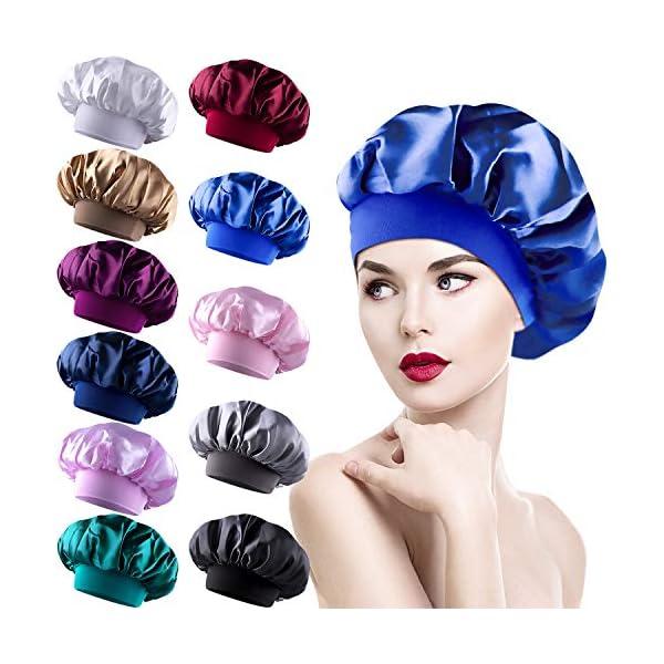 Duufin 11 Packs Sleeping Caps Satin Bonnets Hair Loss Cap Night Cap Salon Sle...