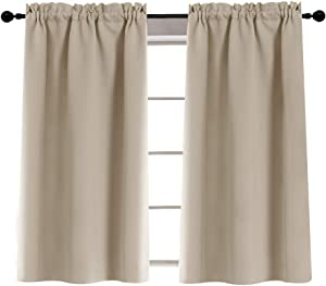 Rod Pocket Curtians for Glass Door Tiers for Kitchen Laundry Room Light Reducing 40 Inches, 2 Panels, Taupe