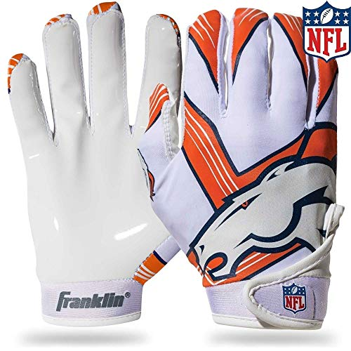 Franklin Sports NFL Denver Broncos Youth Football Receiver Gloves - Medium/Large