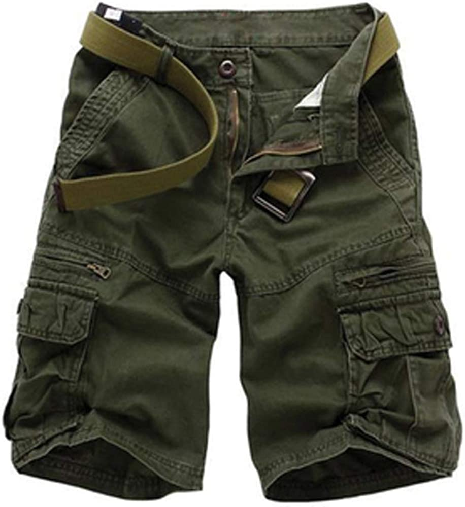 Mesinsefra Men's Cotton Relaxed Fit Multi Pocket Outdoor Casual Cargo Shorts