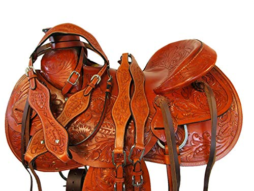 (Premium Tooled Western Horse Leather Roping Roper Ranch Wade Saddle 15 16 17 (17 Inch))