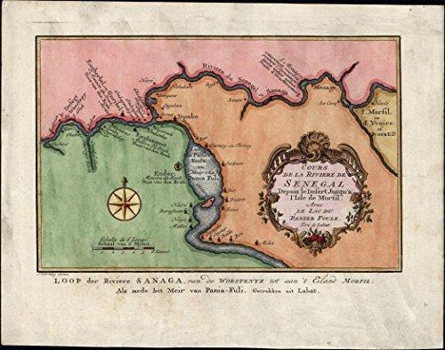 Senegal River West Africa beautiful cartouche 1747 de Hondt old rare antique map