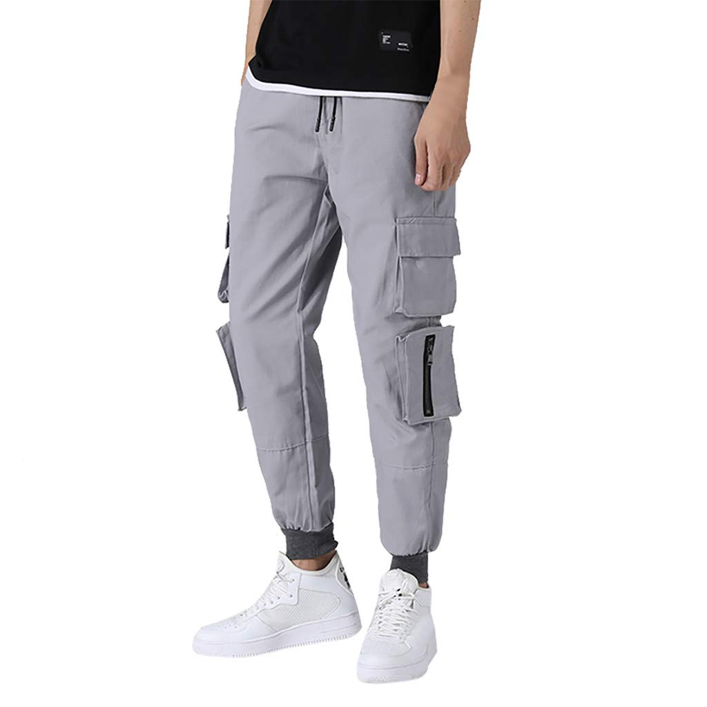 Funnygals - Mens Lightweight Cargo Combat Work Trousers Long Pants with Knee Pad Pockets and Elastic Waist Size S-3XL Gray by Funnygals