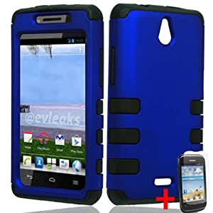 HUAWEI VALIANT Y301 BLUE BLACK HYBRID RIB COVER HARD GEL CASE + SCREEN PROTECTOR from [ACCESSORY ARENA]