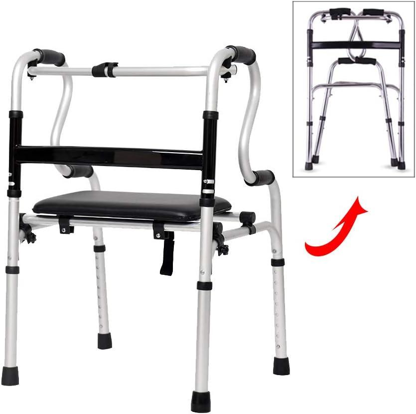 WANXJM Andador de Edad Avanzada con Asiento, Bastidor portátil para discapacitados Plegable de Aluminio Ajustable en Altura, bastón de Cuatro Patas, Silla de baño