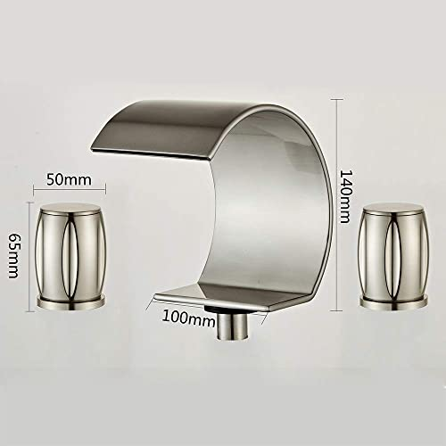 Wovier Brushed Nickel 8-16 Inch Waterfall Widespread Bathroom Sink Faucet,Two Handle Three Hole Vessel Lavatory Faucet,Basin Mixer Tap