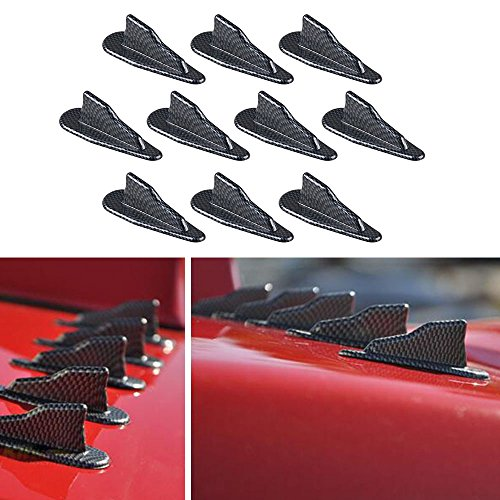 Alpha racing Air Vortex Generator Diffuser Shark Fin 10pcs Set Kit for Spoiler Roof Wing Carbon Fiber Pattern