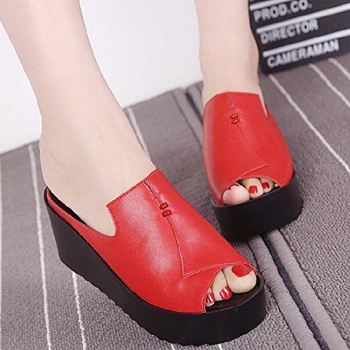 pendio alto ciabatte Qingchunhuangtang sandali Il spessore Un con sandali rosso tacco fIF5qF