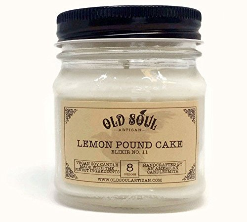 Lemon Pound Cake Soy Candle - Hand poured - 8 oz - Vegan