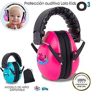O³ Proteccion Auditiva Bebe Lola Kids De 0-3 Años en 2 Versiones - Cascos Antiruido | Cascos Ruido Niños con Bolsa de Almacenamiento - Orejeras Antiruido Para Niños Dormir-Bricolaje-Concierto Niña