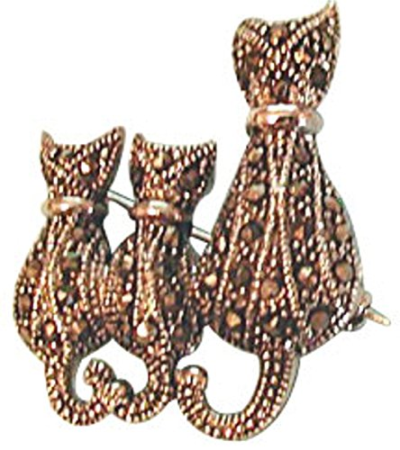 Sterling Silver Marcasite Mother Cat With Kittens Animal Brooch Pin