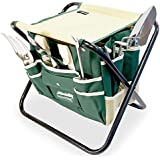 GardenHOME 7 Piece All-in-one Ergonomic Garden Tool Set includes Folding Stool, Tool Bag Tools and Stainless Steel Tools