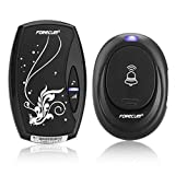 Wireless Doorbell Kit, 1 Receiver Chime & 1 Push Button With 36 Melodies, 4 Volume Levels and LED Flash, Operating at 500 Feet / 150 Meters Range,Battery Powered (Black)