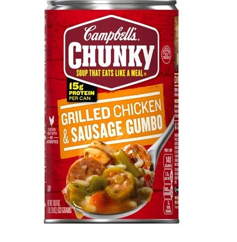 Campbell's Chunky Grilled Chicken & Sausage Gumbo Soup 18.8 oz ( Case of 12 )