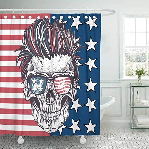 Emvency Fabric Shower Curtain with Hooks Face of