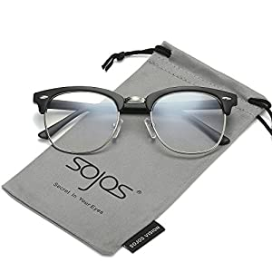SojoS Classic Clubmaster Semi Rimless Eyewear Frame Clear Lens Eyeglasses SJ5018 With Matte Black Frame/Silver Rim