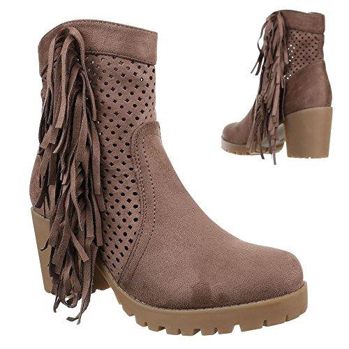 Ital-Design - Botas De Vaquero Mujer marrón claro